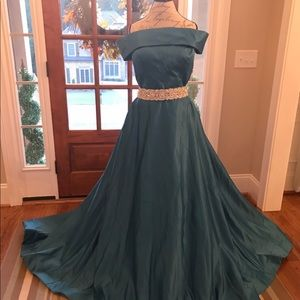 Custom off the shoulder evening gown
